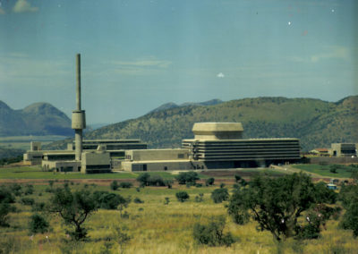 The completed SAFARI-1 building and ventilation tower