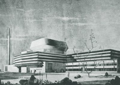 Architect's sketch of the SAFARI-1 reactor building
