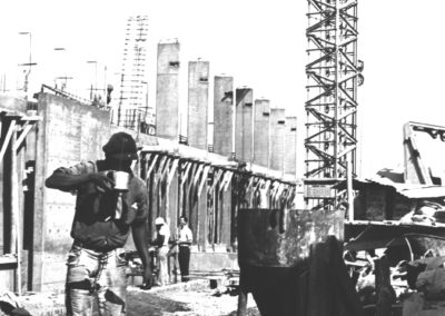 The administration building under construction, 1963